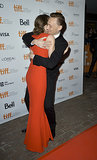 Tom Hiddleston gave Mia Wasikowska a big hug.