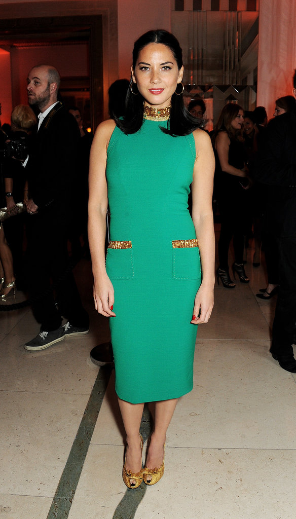 Olivia Munn stunned in a green dress at the Harper's Bazaar Women of the Year Awards in London on Tuesday.