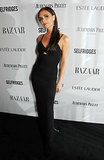 Victoria Beckham wore a black gown to the Harper's Bazaar Women of the Year Awards.
