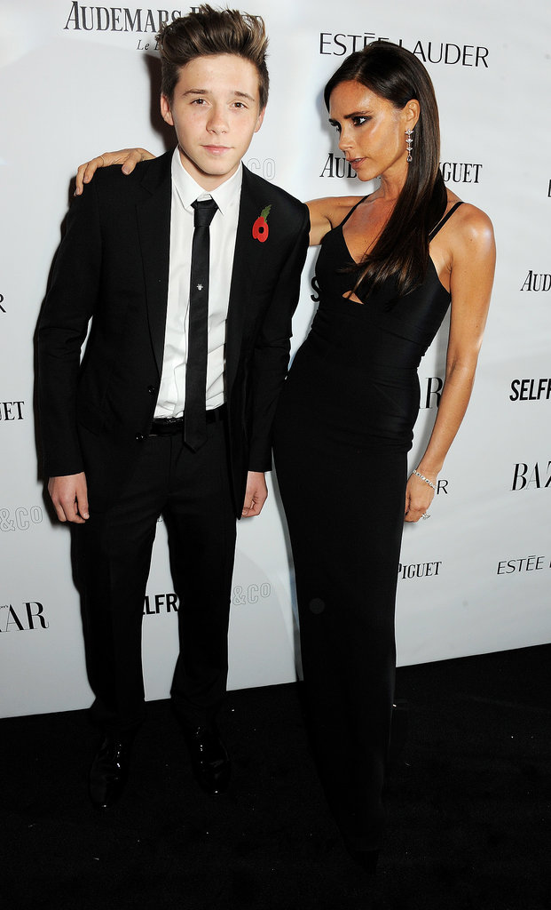 Victoria Beckham brought her son Brooklyn to the Harper's Bazaar Women of the Year Awards in London on Tuesday.
