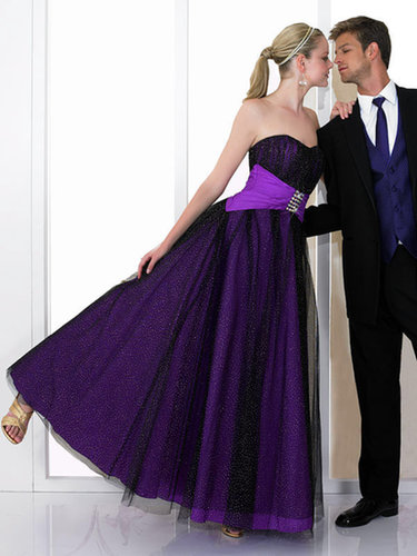 Princess Sweetheart Tulle Satin Floor-length Beading Prom Dresses at sweetquinceaneradress.com