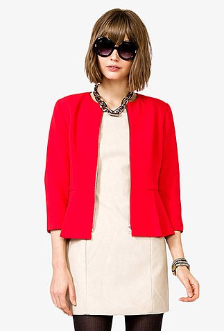 This Forever 21 pleated 3/4 sleeve jacket ($33) is a perfect way to add a punch.