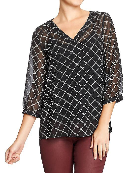 This Old Navy printed chiffon boho blouse ($30) was made for boosting your basic black work pants.
