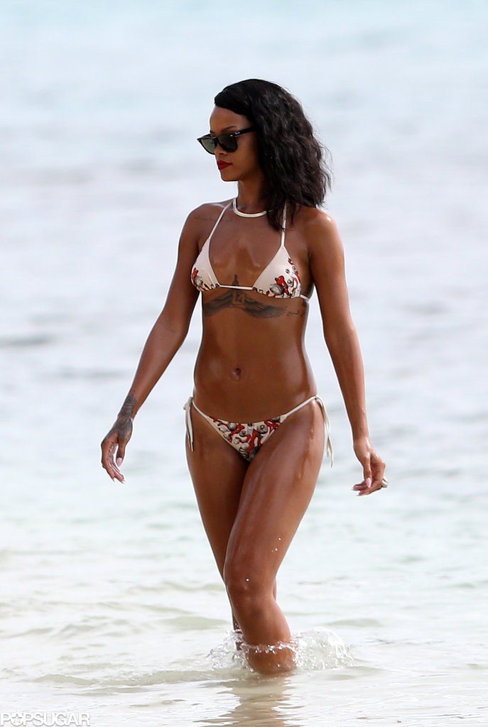 Rihanna got wet while in Barbados in November.