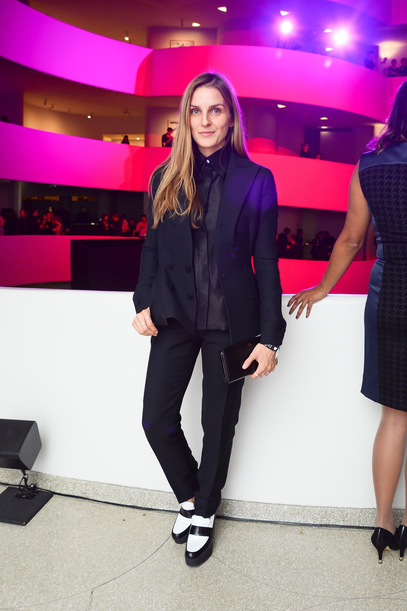 Gaia Repossi took in the Guggenheim gala in a borrowed-from-the-boys pairing that included colorblock flats.