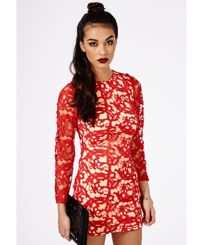 Missguided - Kraisa Embroidered Lace Shift Dress In Red