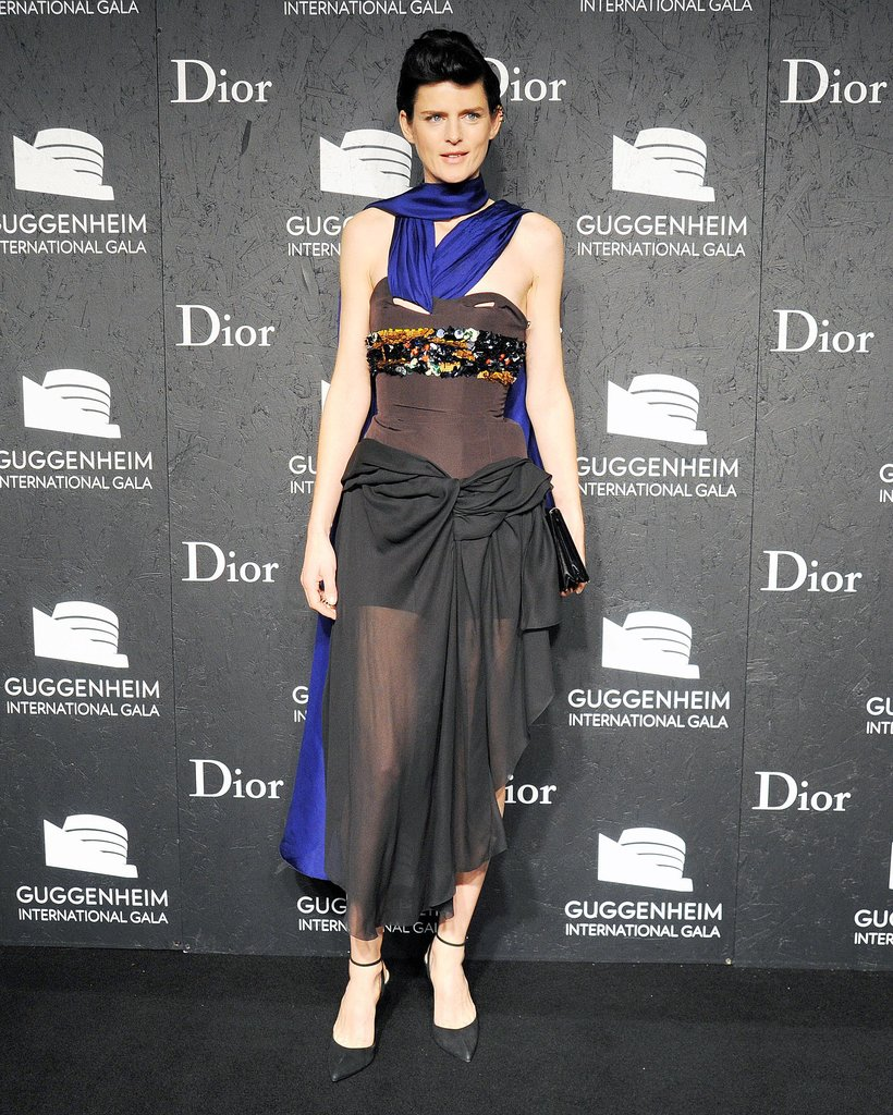 Stella Tennant was draped in drama at the Guggenheim International Gala.