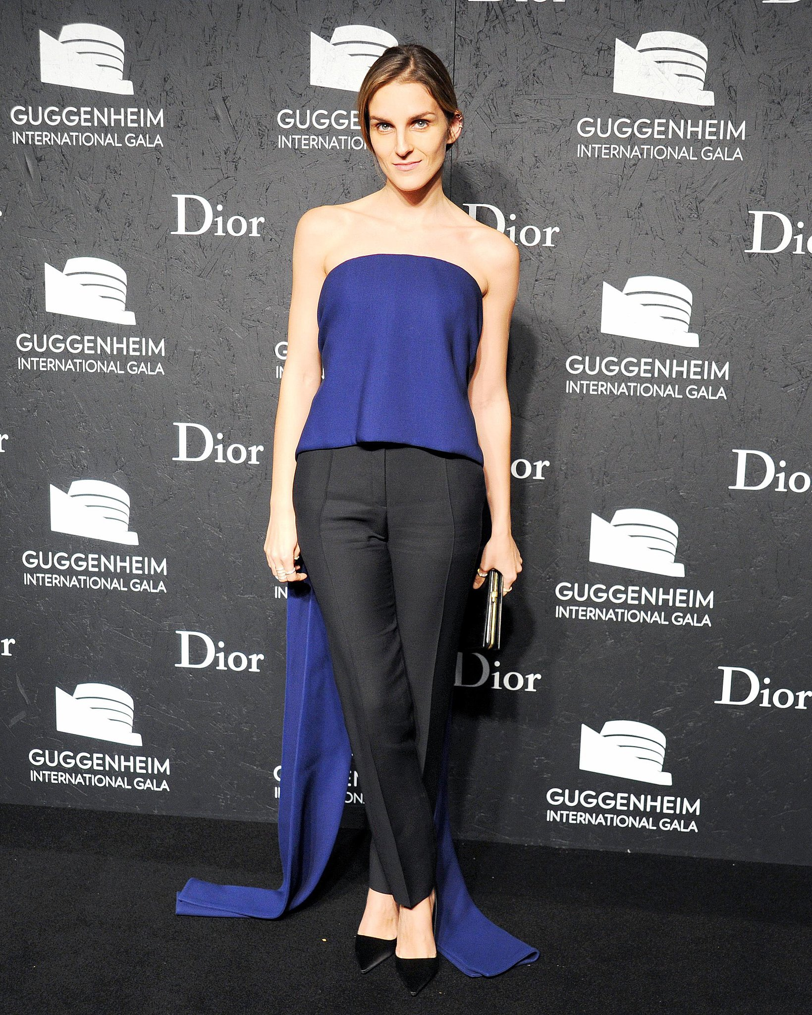 Gaia Repossi paired black and blue at the International Gala held at the Guggenheim Museum.