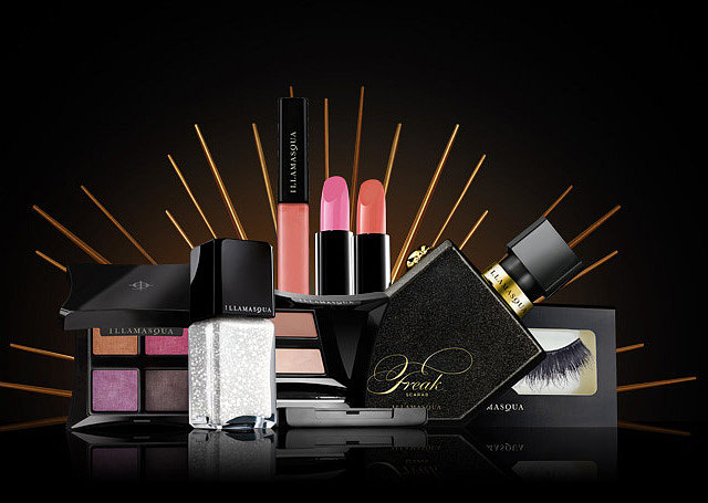 With velvety-colored eye palettes, loads of false lashes, and a bevy of nail shades, the collection looks like a cross between Halloween and Christmas.