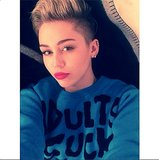 Fuchsia lips and bold brows are a fantastic look on Miley Cyrus. Source: Instagram user mileycyrus