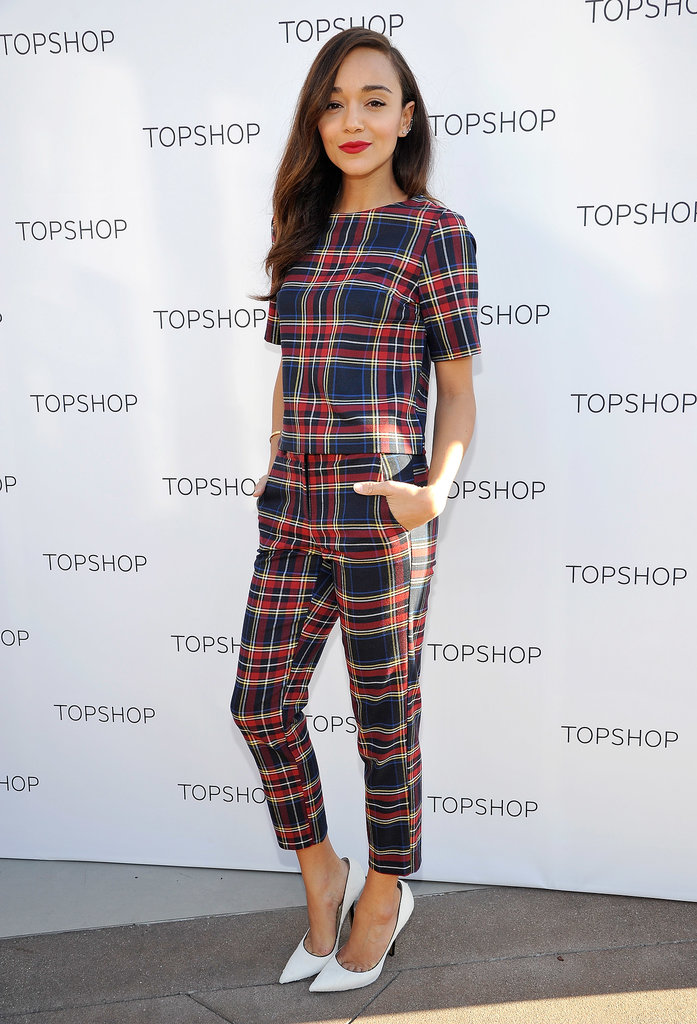 Ashley Madekwe was mad about plaid at the Topshop holiday party in Los Angeles.