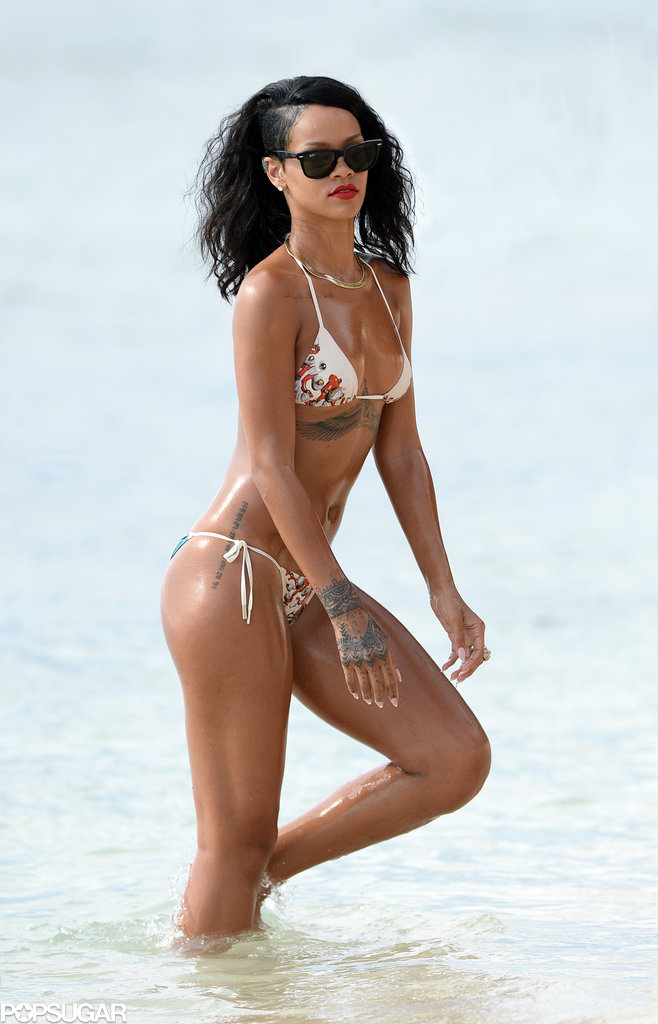 Rihanna showed off her bikini body when she hit the beach in her native Barbados on Wednesday.