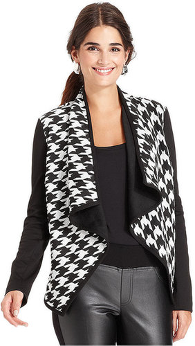 NY Collection Jacket, Long-Sleeve Graphic-Print Draped Blazer