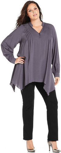 Spense Plus Size Top, Long-Sleeve Handkerchief-Hem Blouse