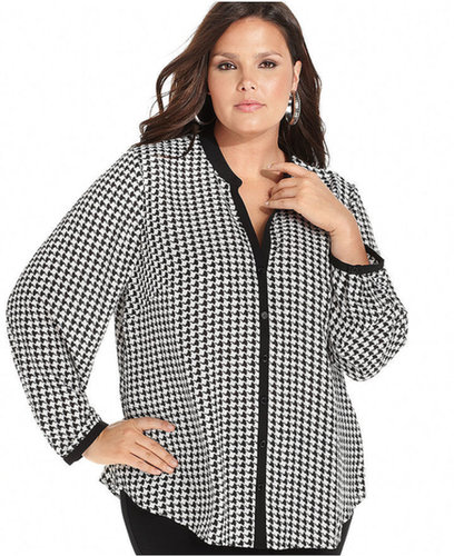 Spense Plus Size Top, Long-Sleeve Houndstooth-Print Blouse