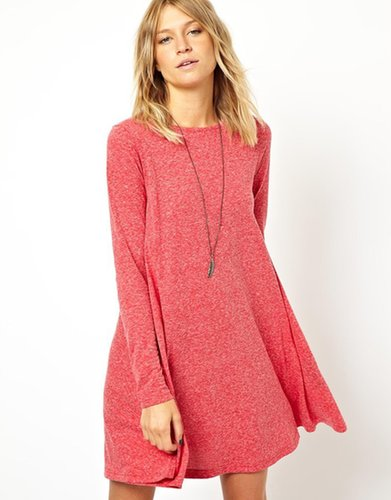 ASOS Swing Dress In Nepi With Long Sleeves