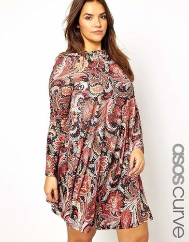 ASOS CURVE Exclusive Swing Dress In Paisley Floral