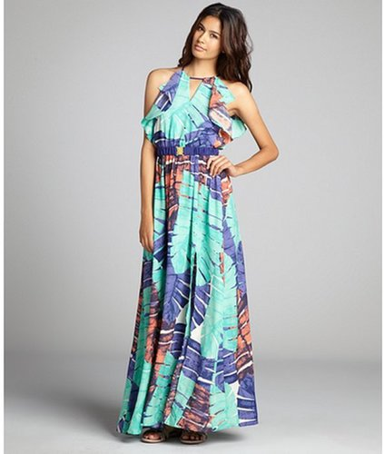 Aryn K teal cerulean and orange feather pattern belted maxi dress