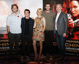 Sam Claflin, Josh Hutcherson, Elizabeth Banks, Liam Hemsworth, and Francis Lawrence attended a photocall for Catching Fire.