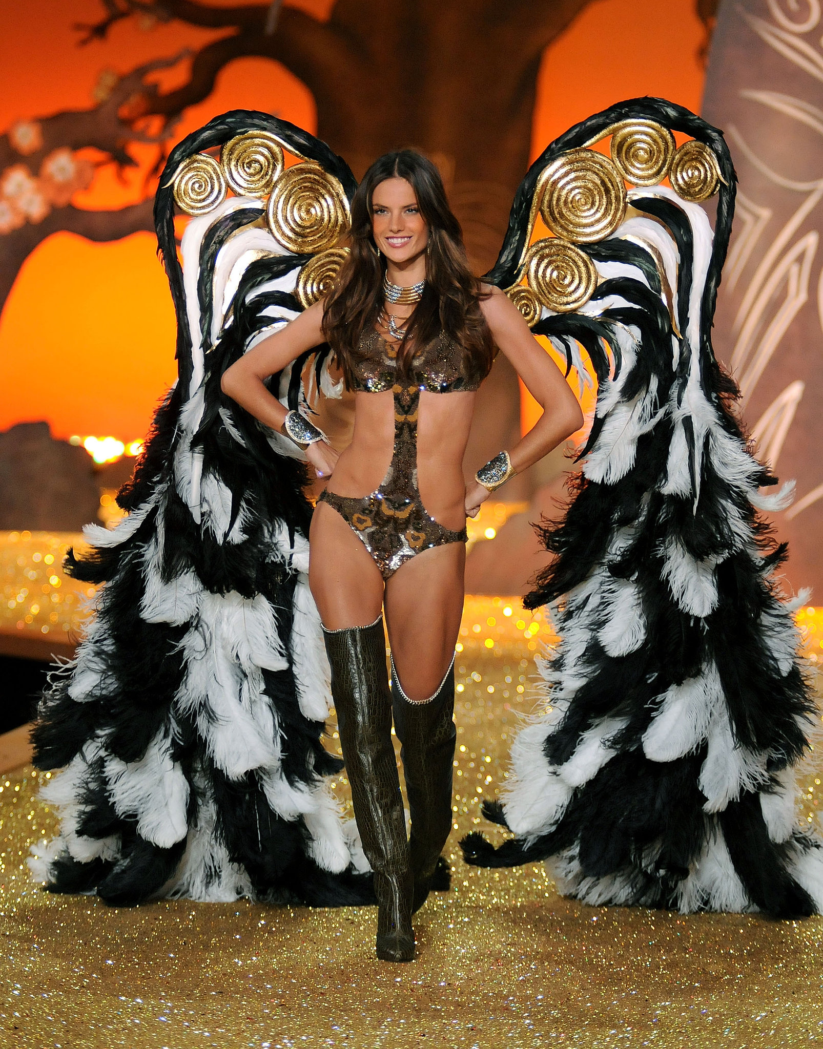 Alessandra Ambrosio sported feathered, metallic wings in 2010.