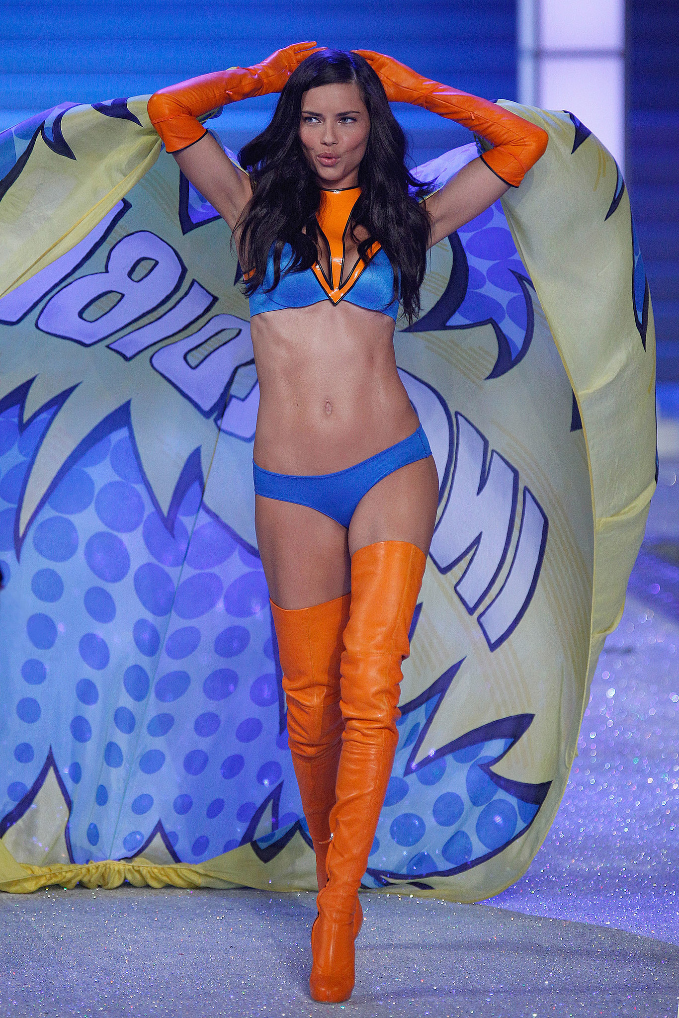 Adriana Lima rocked bright lingerie in 2011.