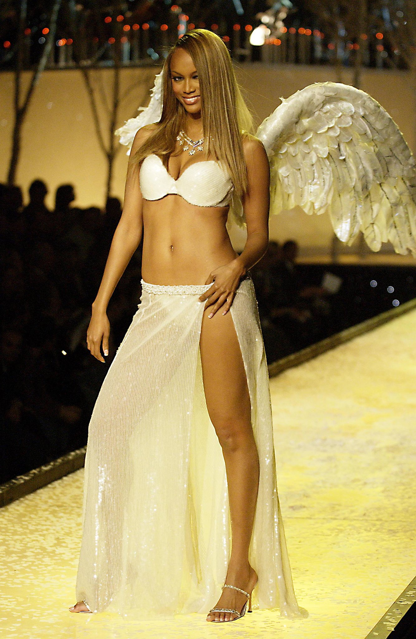 Tyra was busty and bird-like in 2001.
