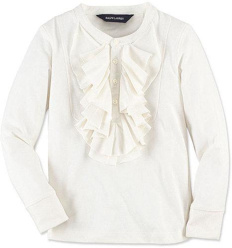 Ralph Lauren Kids Shirt, Little Girls Long-Sleeve Ruffle Bib Henley