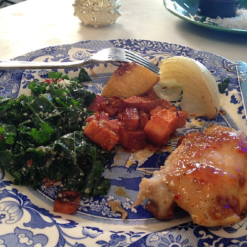 Chile Jam Chicken With Currant and Pine Nut Kale Salad