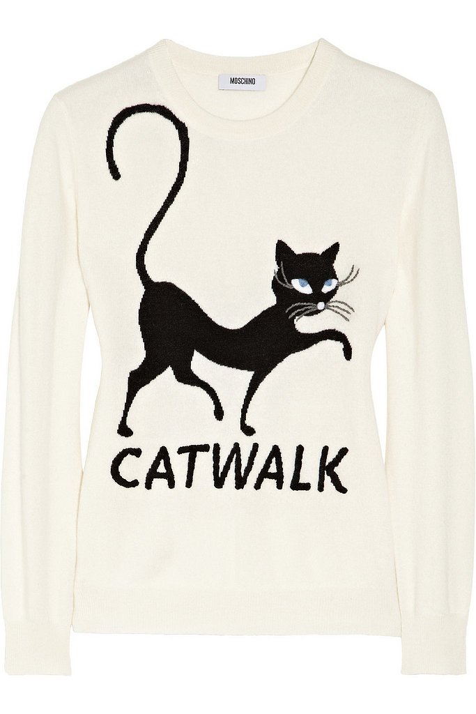 Moschino Cheap and Chic Embroidered Cat-intarsia Cashmere Sweater ($417, originally $695)