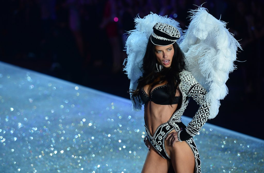 Adrianna Lima showed off her flawless abs on the catwalk.