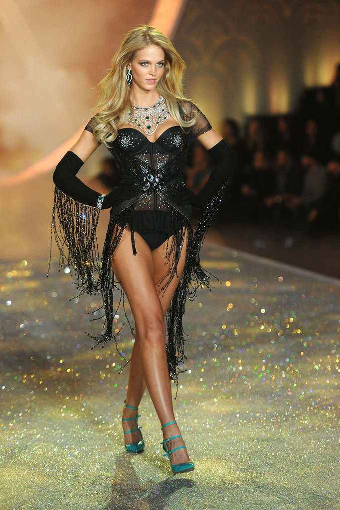 Erin Heatherton rocked black lingerie and green heels.