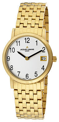 JACQUES LEMANS Women's White Dial Gold Plated Stainless Steel