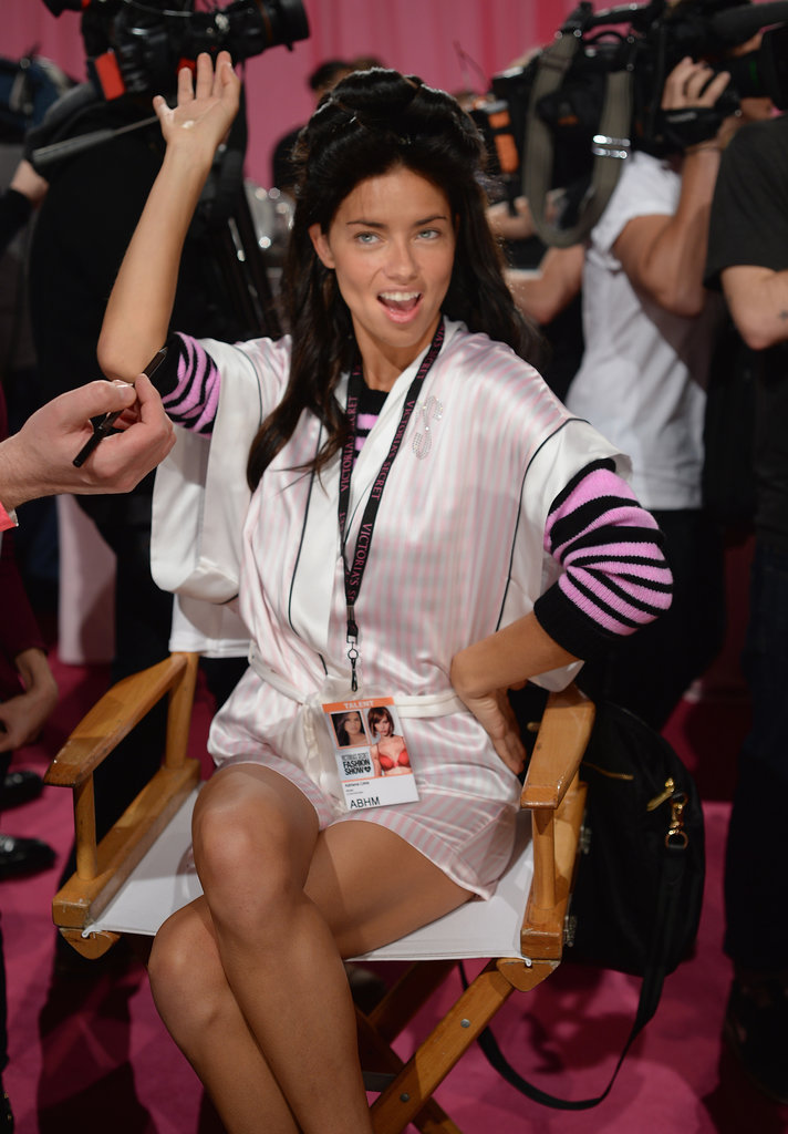 Adriana Lima had fun in the makeup chair.