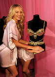 Candice Swanepoel posed with the $10 million Fantasy Bra.