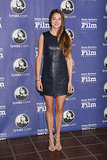 Woodley edged up her usually sweet style with a navy leather Phillip Lim mini and strappy suede heels for the Santa Barbara International Film Festival.