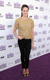 "The ""Best Supporting Female"" winner nailed casual chic, topping her black denim with an ornate gold-and-pink Christopher Kane top and cap-toe Christian Louboutins at the 2012 Independent Spirit Awards."