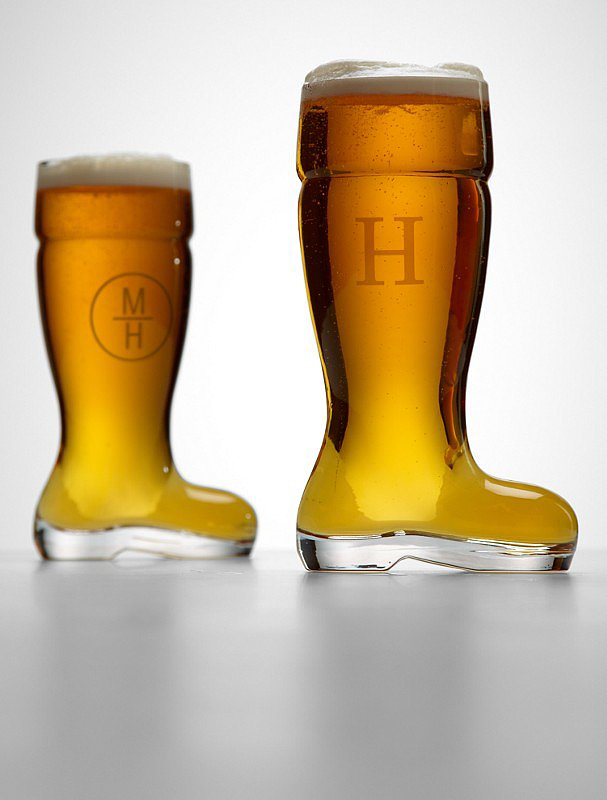 Monogrammed Boot Beer Glass
