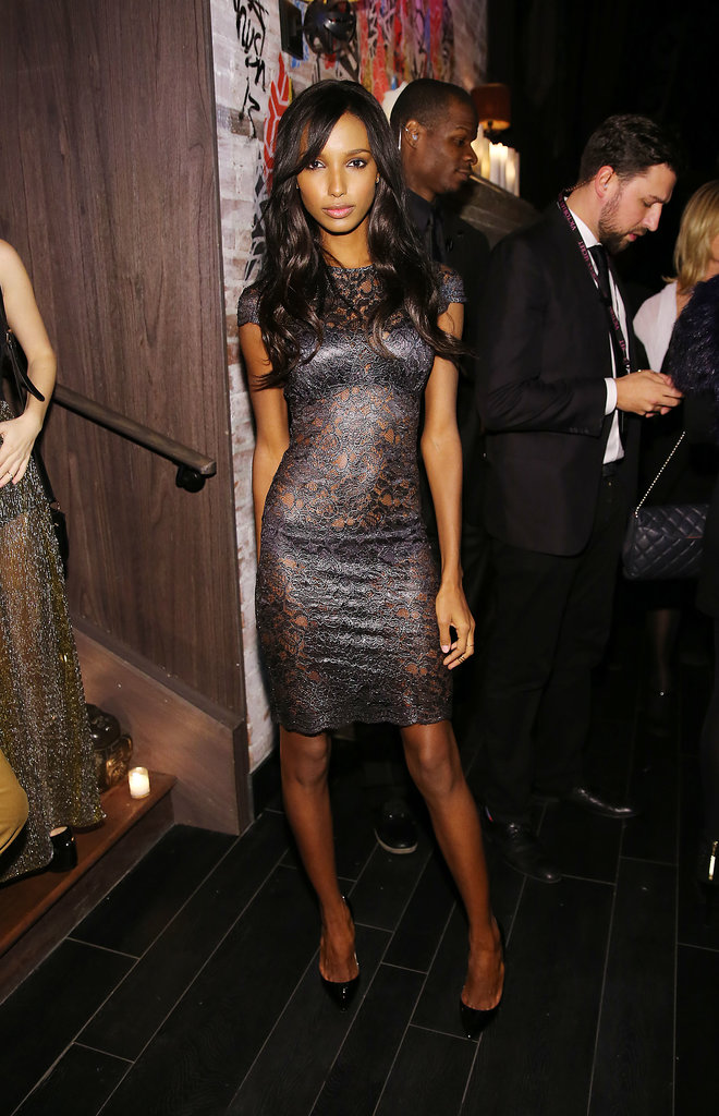 Jasmine Tookes stayed sexy in a gunmetal-gray lace dress.