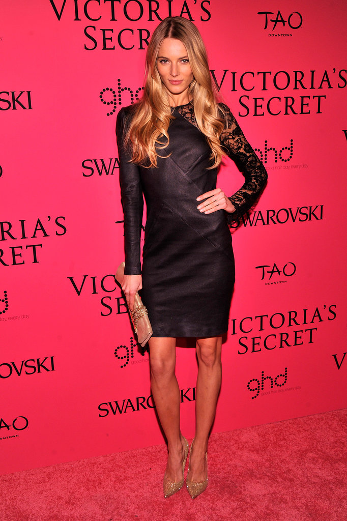 Ieva Laguna opted for a black dress whose lacy sleeves let her skin peek through.