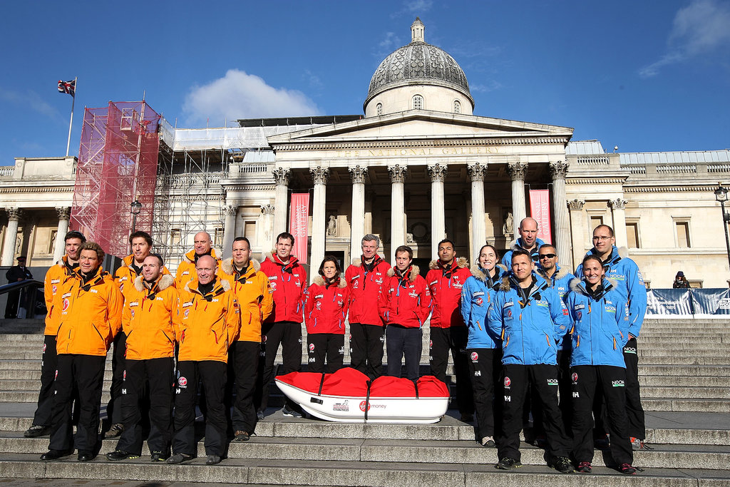 Team Commonwealth, Team USA, and Team UK posed for photos at Trafalgar Square. Actor Dominic West joined the teams on the steps and Alexander Skarsgard will reportedly meet up with his team in Cape Town.