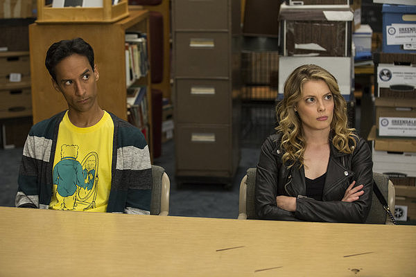 Abed (Pudi) and Britta (Jacobs) on Community's season premiere.