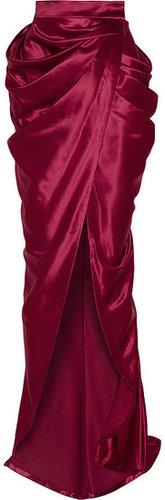 Balmain Draped wool and silk-blend satin wrap maxi skirt