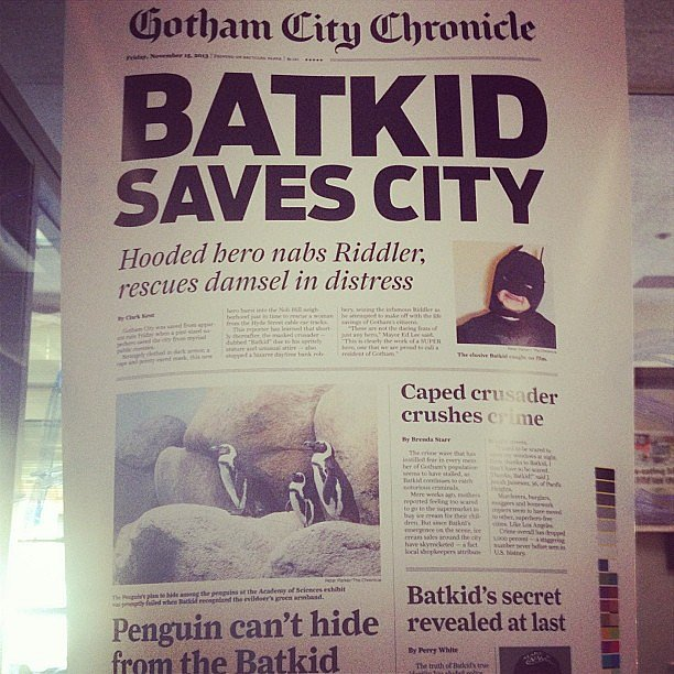 The local Gotham City Chronicle was on the story. Source: Instagram user mullin_around