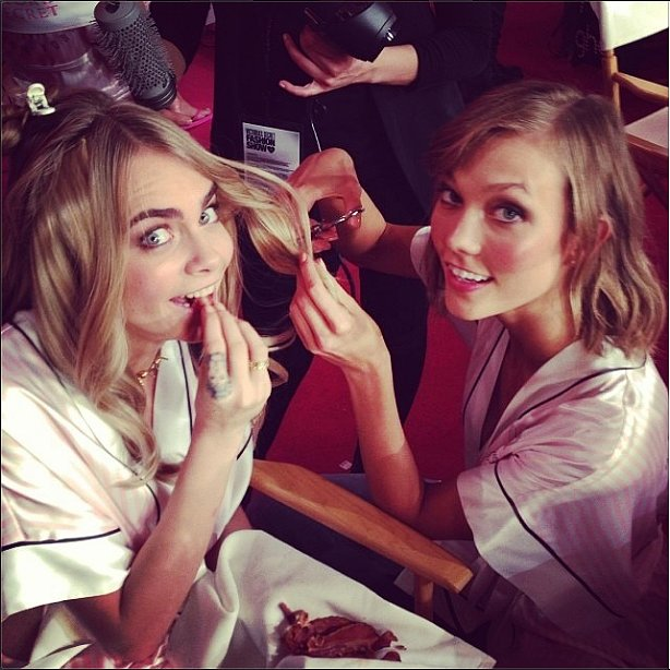 Cara Delevingne and Karlie Kloss had some fun backstage at the Victoria's Secret Fashion Show. Source: Instagram user caradelevingne