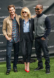Andrew Garfield, Emma Stone, and Jamie Foxx linked up for pictures.