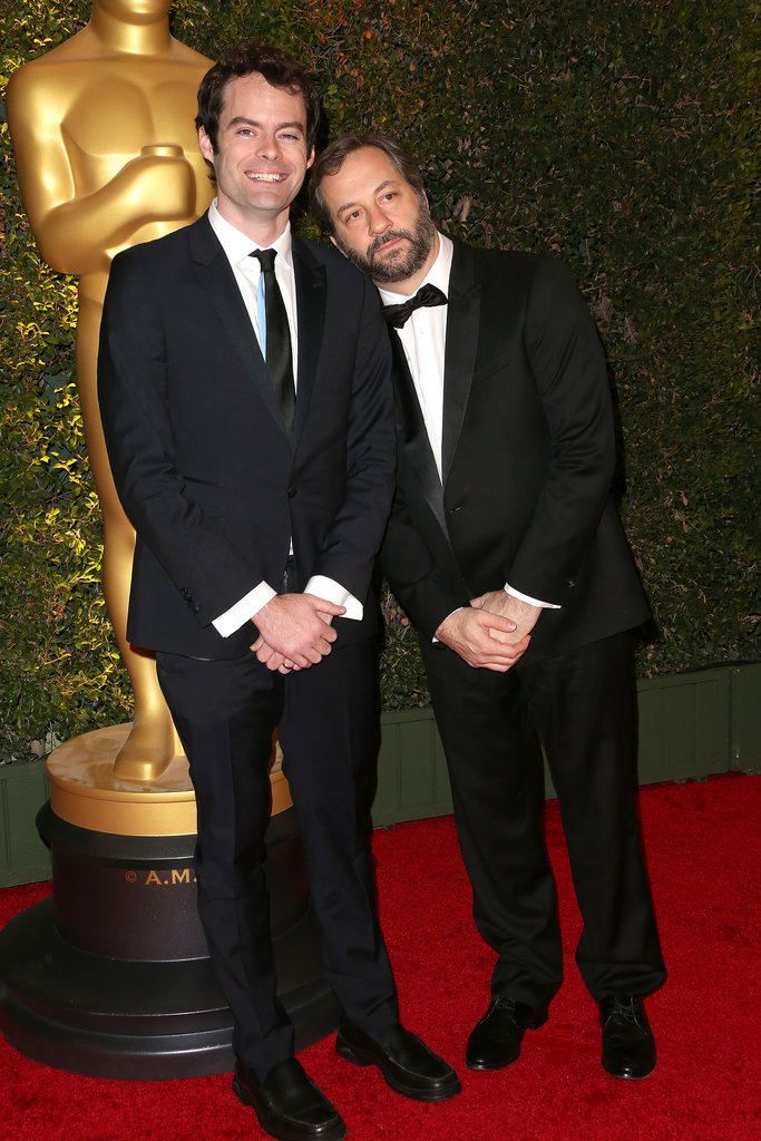 Funny guys Bill Hader and Judd Apatow posed for pictures on the red carpet.