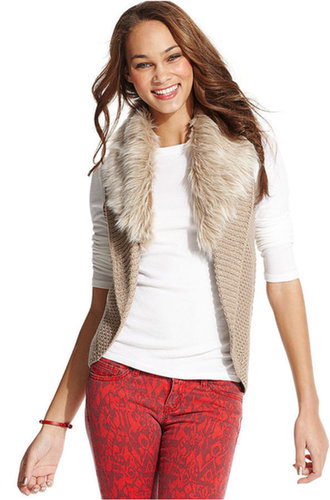 Dolled Up Juniors Vest, Faux-Fur Trim Cocoon