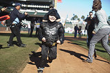 Batkid took some time to run the bases at AT&T Park after saving the Giants mascot.