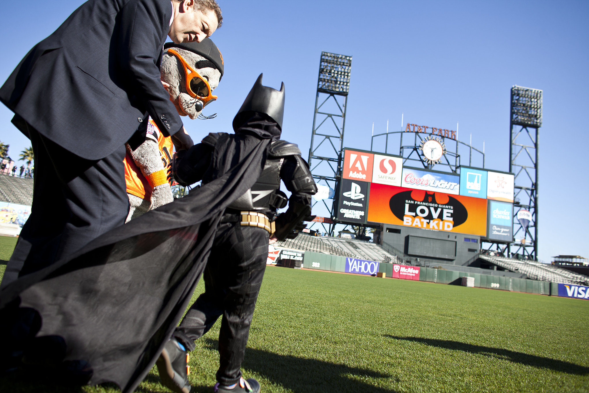 Batkid saved Lou Seal, the Giants mascot, who was ki