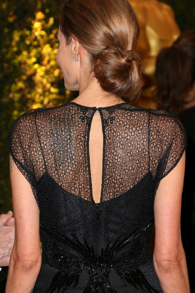 From the back, Angelina's hair was gathered in a polished low chignon.